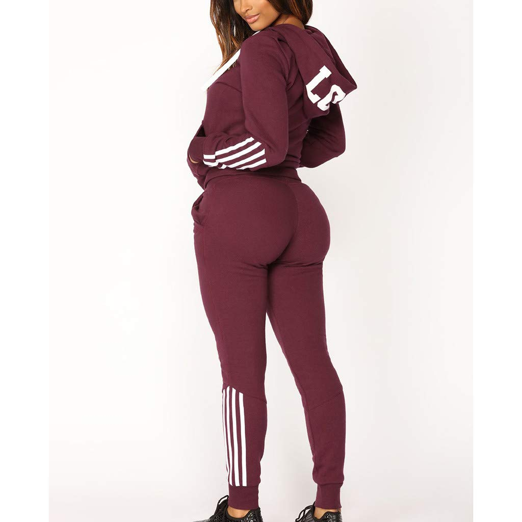Casual Womens Hoodies Stripe Zipper Long Sleeves Pullover Sport Tops+Long Tracksuit Sweatshirt Pants Set by iLUGU (Image #1)