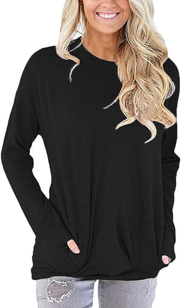 Women Long Sleeve Casual Tunic Tops Sweatshirt Crew Neck Plain Loose T Shirts Blouse Cotton