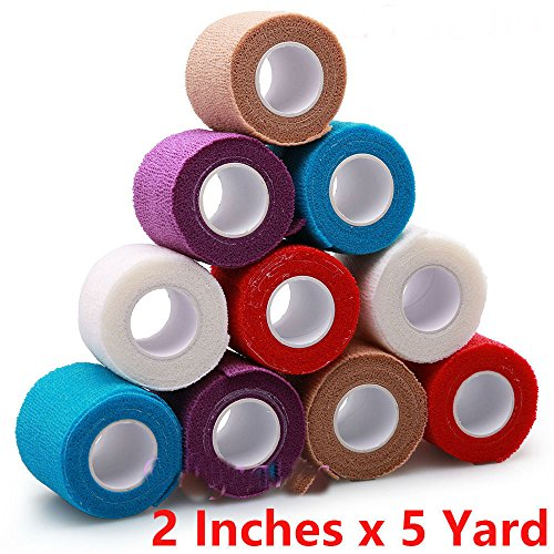 2'' x 5 Yard, 10 Roll Self Adhesive Bandage Gauze Rolls Elastic Adherent Tape First Aid Kit Wrap by Unknown