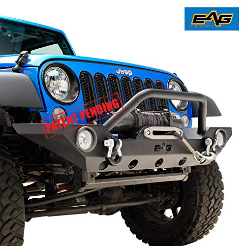 21c5491274 EAG Front Bumper with Fog Light Hole & Winch Plate for 07-18 Jeep Wrangler  JK
