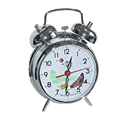 UQ Vintage Mechanical Wind Twin Bell Alarm Clock, Silver