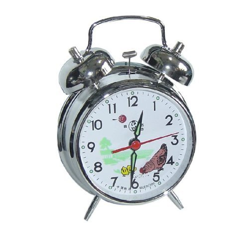UQ Vintage Mechanical Wind Twin Bell Alarm Clock, Silver ()