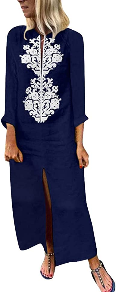 LEvifun Mujer Verano De Playa Vestido Estampado Vestido De Lino Y ...