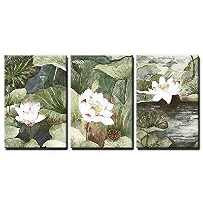 3 Panel Canvas Wall Art - Watercolor Style Lotus Flowers and Leaves - Giclee Print Gallery Wrap Modern Home Art Ready to Hang - 24