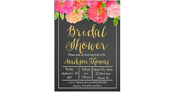 SKU CBI169 Size 16x20 inches Bridal Shower Chalkboard Invitation  Floral Wreath Printable Chalkboard Invitation