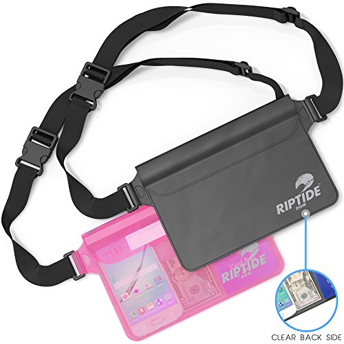 Waterproof Fanny Pack (2 Pack) For Men & Women Dry Bag Water Resistant With Adjustable Waist Strap -Protects Valuables - At Water Sports Swimming Skiing Black/Transparent & Sheer Pink By Riptide
