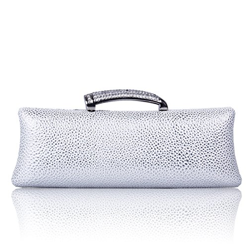 ECOSUSI PU Leather Rhinestone Evening Wedding Party Handbag Clutch Purse Wallet (Purse Handbag Metallic)