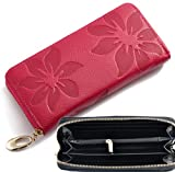 iSuperb Women Leather Wallet Wristlet Clutch Classy Floral Zipper Large Capacity Handbag Wallet Purse for Card Credit Change 7.5x3.5 x1 inches (Rose)