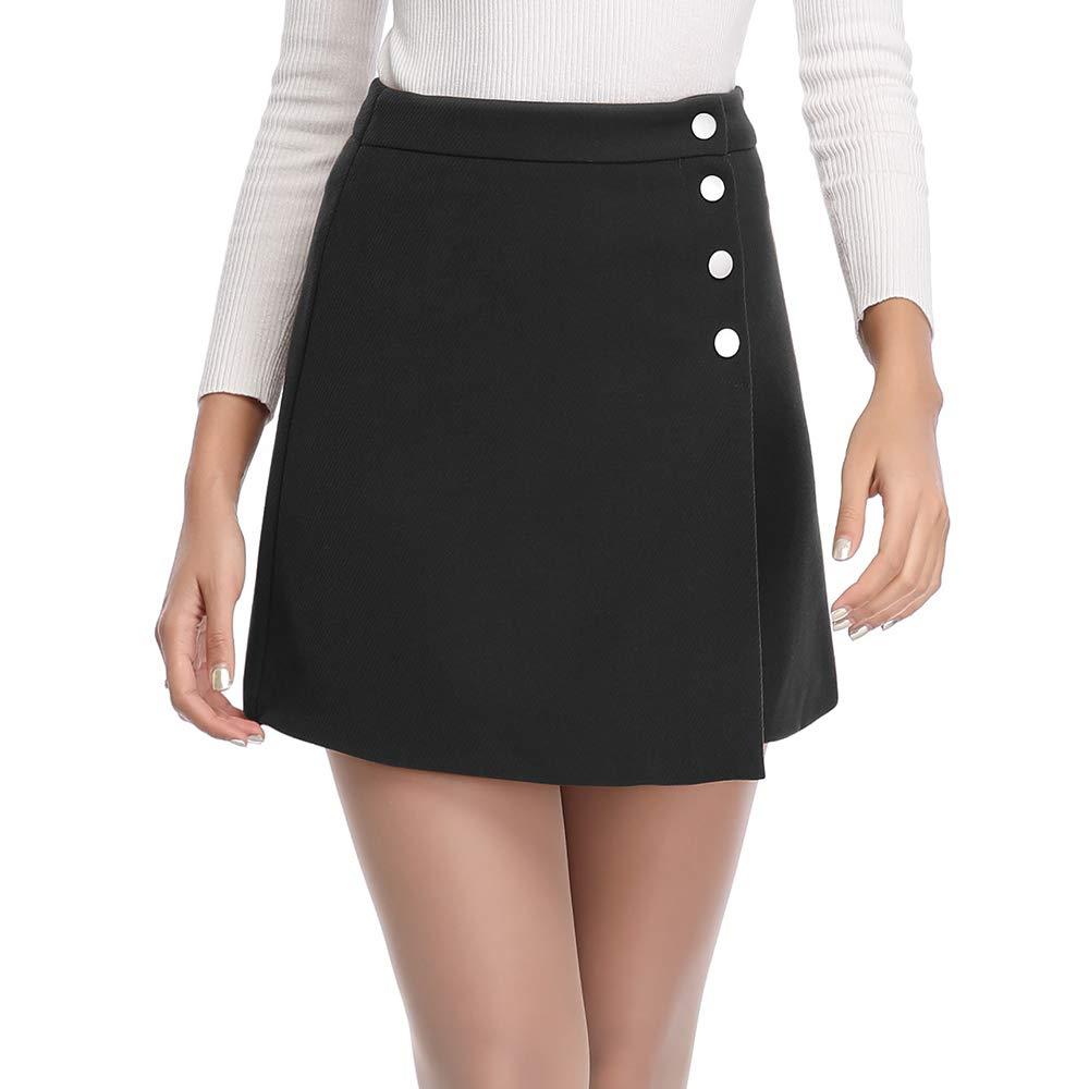 d029c498da Haadid Women's Asymmetrical Hem Button Closure Front A-Line Mini Skirts at  Amazon Women's Clothing store: