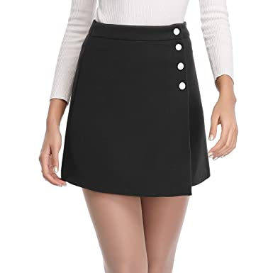 42b6605a4d Haadid Womens Asymmetrical Hem Button Closure Front A-Line Mini Skirts High  Waist Pencil Dresses