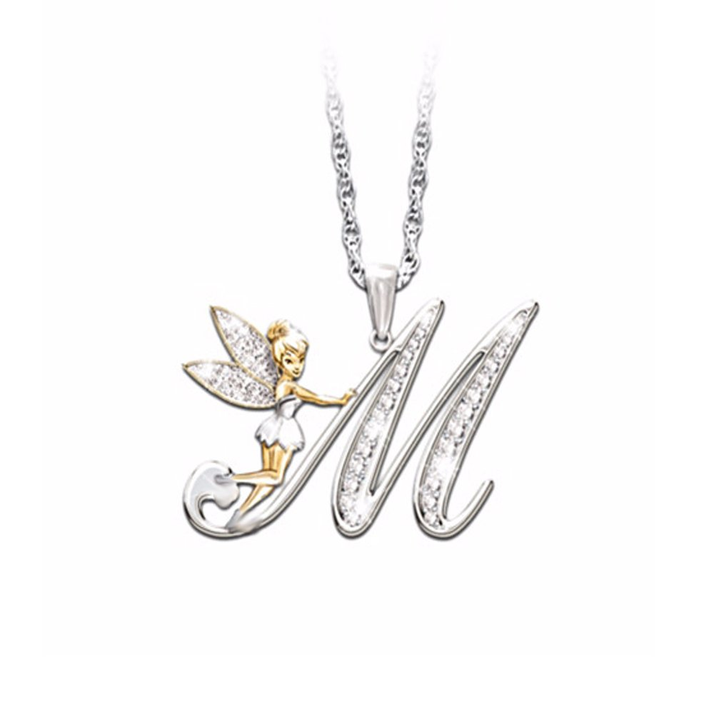 14K White Gold Plated Simulated Excellent Round CZ Diamond Initial M Letter Pendant Angel Wing With 18 Box Chain Silverraj Jewels 26 Alphabet Pendant Collection