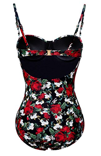 fd9ec615086 LAMOON Floral Print Balconette One-Piece Swimsuit Beach Bathing Suit ...