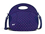 Built NY LB12-MNV Spicy Relish Neoprene Lightweight Insulated Lunch Bag with Adjustable Crossbody Strap, Mini Dot Navy