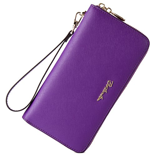 BOSTANTEN Women Leather Wallet Clutch Bag Card Case Cash Holder Wallets Purple