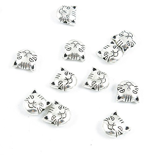 Qty 30 Pieces Silver Tone Jewelry Making Charms Filigrees I0VK0 Cat Kitten Head Loose Beads - Cat Beads