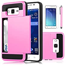 Galaxy Grand Prime Case, EC™ [Shockproof][Drop Protection] Hybrid Dual Layer Slim Wallet Case with Card Slot Holder Hard Shell Cover for Samsung Galaxy Grand Prime G530 (Baby Pink)