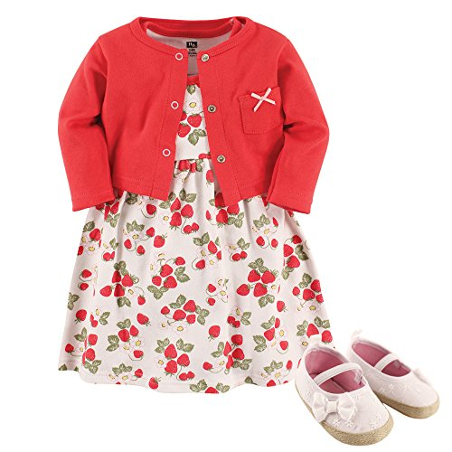 Hudson Baby Baby Girl Cotton Dress, Cardigan and Shoe Set, Strawberry, 3-6 Months