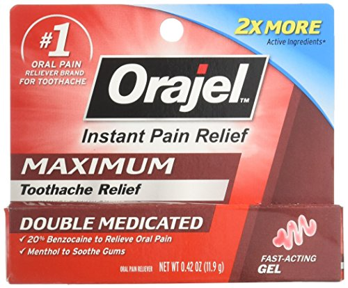 Orajel 3X Strength Medicated Gel Oral Pain Reliever, 0.42 Oz (Packaging May Vary)