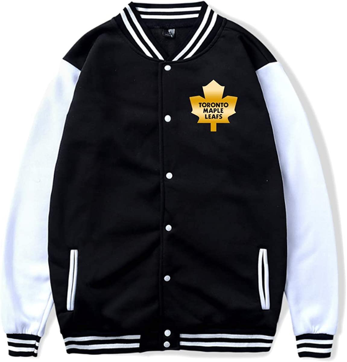 Unisex Varsity Jackets Toronto Maple Leafs Gold Fashion Button Front Cotton Bomber Baseball Jackets Amazon Ca Clothing Accessories