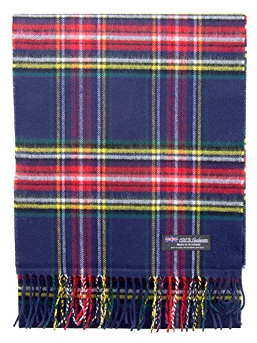 2 PLY 100% Cashmere Scarf Elegant Collection Made in Scotland Wool Solid Plaid (Navy Red Tartan Plaid 4336)