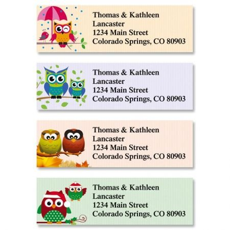 (Year Round Owls Small Return Address Labels (4 Designs) - Set of 240 2