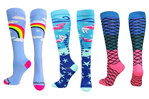 MadSportsStuff Rainbow Mermaid Cat Socks Gift Pack (Rainbow Mermaid Pack, Small)