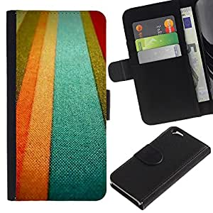 KingStore / Leather Etui en cuir / Apple Iphone 6 / Textil textura naranja pastel Tonos Líneas