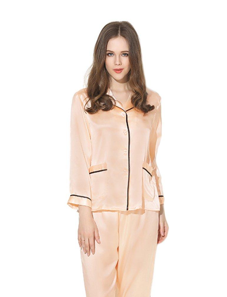 Women's Sleep Sets Pure Silk Nightwear Summer Nightclothes Pink Apricot S
