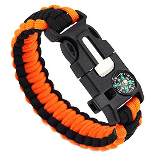 Booboda 5-In-1 Outdoor Rope Life Saving Escape Bracelet Long Wear - Mini Compass Flint Bracelet -(C)