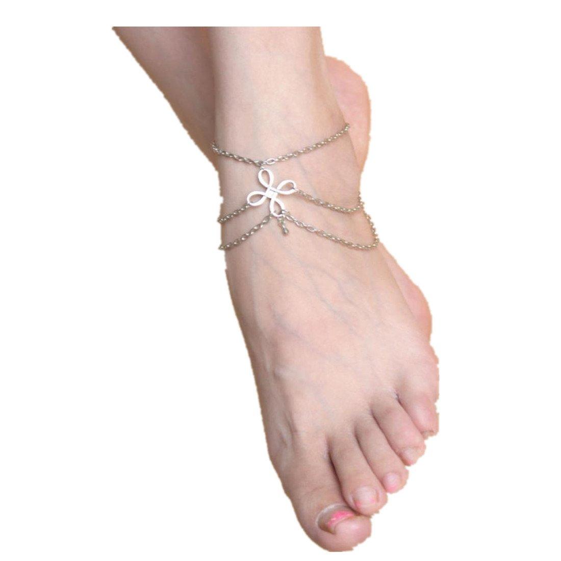 Kingfansion Women Beach Barefoot Sandal Foot Tassel Jewelry Anklet Chain
