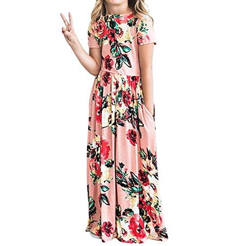 YIJODM Girls Floral Maxi Dress, Flower Printed Short Sleeves Dress with Pockets Summer Long Holiday Dress Pink]()