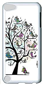 Fashion Customized Case for iPod Touch 5 Generation White Cool Plastic Case Back Cover for iPod Touch 5th with Bird Tree Patting