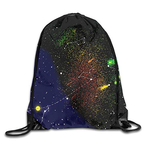 PengMin Astronomy Science Names of Stars Zodiac Signs Night Sky Drawstring Bag for Traveling Or Shopping Casual Daypacks School Bags