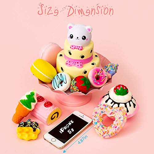 SYYISA Jumbo Squishies Slow Rising [12-Pack]: Bear Cake, Ice Cream, Donut, Macaron, Starawberry Cake, and Waffles Kawaii Soft Food Squishy Toys - Squishys are Great Sensory Toys for Kids! Comes in Mix by SYYISA (Image #3)