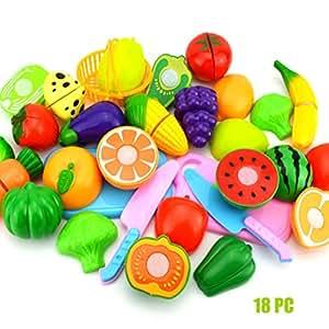 Junshion Kids Pretend Role Play Kitchen Fruit Vegetable Food Toy Cutting Set Gift (B-18pcs)