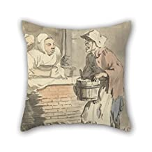 Oil Painting Paul Sandby - London Cries- 'Any Kitchen Stuff' Pillowcase 18 X 18 Inches / 45 By 45 Cm For Wife Kitchen Monther Floor Dining Room Couples With Both Sides