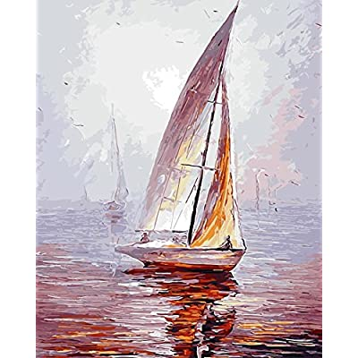 TianMai Version 3.0 HD Paint by Number Kits for Adults PBN Kit Paintworks Digital DIY Oil Painting Canvas Kits for Children Kids Beginner White Christmas Decorations Gifts - Sailboat (N1, Framed): Toys & Games