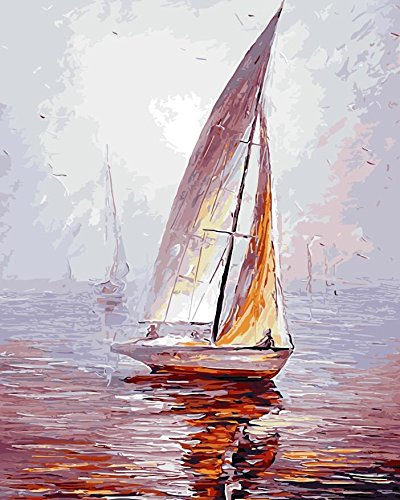 TianMai Version 3.0 HD Paint by Number Kits for Adults PBN Kit Paintworks Digital DIY Oil Painting Canvas Kits for Children Kids Beginner White Christmas Decorations Gifts - Sailboat (N1, Framed)
