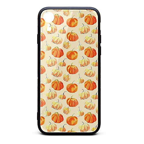 Watercolor Halloween of Pumpkins Phone Case for iPhone xr, Slim Protection Art Line Design Cell Phone Protective Case -