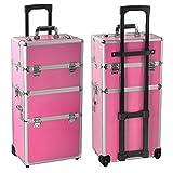 Gotobuy 3 in 1 Makeup Beauty Nail Case Cosmetics Trolley Bag Box Makeup Organizer (Pink)