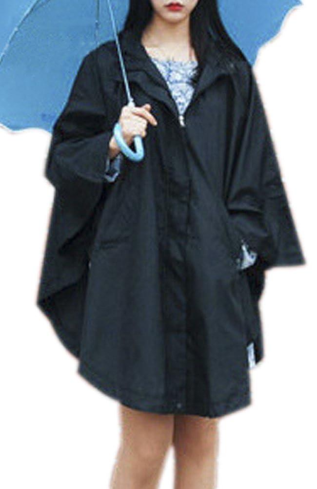 ChezAbbey Women's Waterproof Packable Rain Jacket Batwing-sleeved Poncho Raincoat