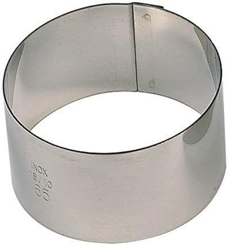Paderno World Cuisine Pack of 6 Round Stainless Steel Pastry Rings, 2-Inch