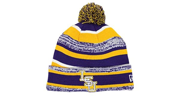 new styles 6336f e8494 Amazon.com   New Era LSU Tigers Tide Players   Coaches Sideline Knit Cuff  Beanie w  Pom NCAA Authentic Cap Hat - Purple   Gold   Sports   Outdoors
