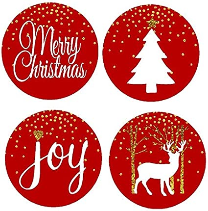30 Ornaments Merry Christmas Holiday White Envelope Sticker Seals Personalized
