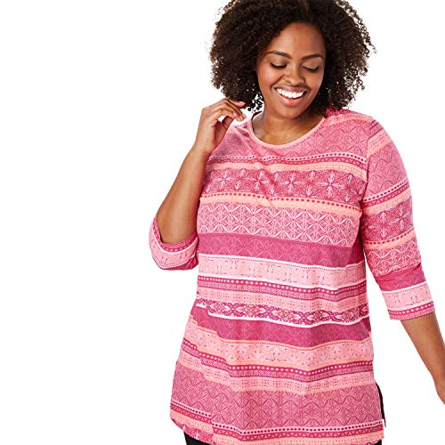 Woman Within Women's Plus Size Perfect Printed Three-Quarter Sleeve Tunic - Bright Berry Island Stripe, 1X ()