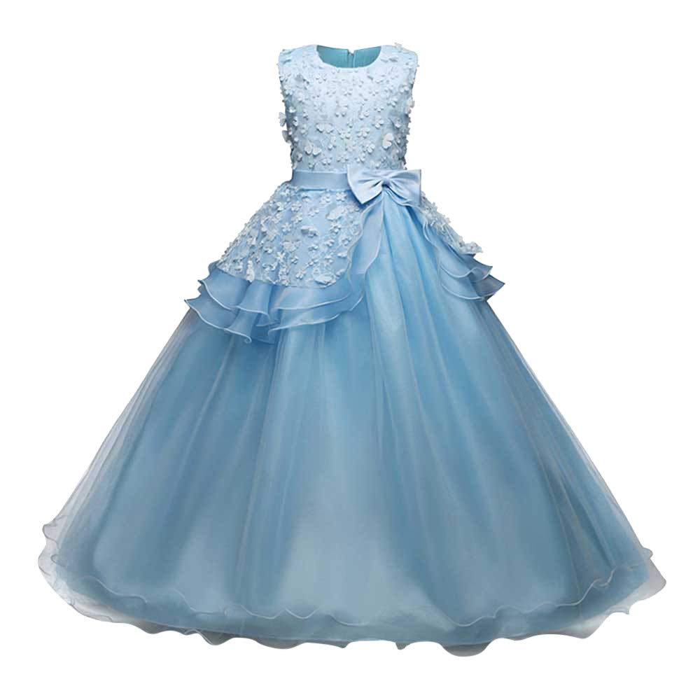 Wenini Girl Sleeveless Embroidery Princess Pageant Dresses Kids Prom Ball Gown Bridesmaid Pageant Gown Birthday Party Wedding Dress Blue by Wenini