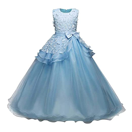 88bd5197b0ca Amazon.com  Lurryly❤Girl Sleeveless Embroidery Princess Pageant ...