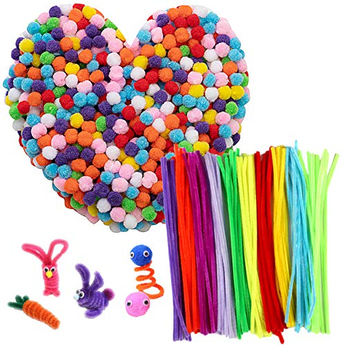 - 1000pcs Multicolor Pom Poms with 100pcs Pipe Cleaners, Assorted Pompoms 0.5 Inch Mini Fuzzy Pompom Balls, 11.8