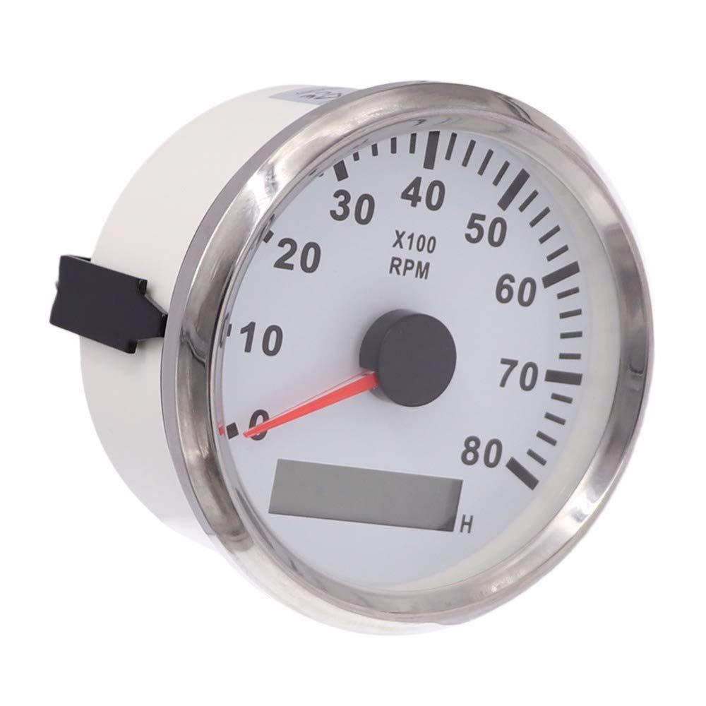Resistente al agua tacó metro Rev Contador Medidor de RPM con hora medidor 0 –  8000RPM 85 mm 9 –  32 V con retroiluminació n ELING