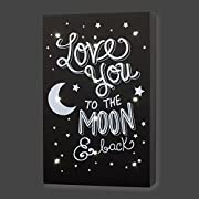 Little Love by NoJo Celestial Lighted Wall Decor, Love You to the Moon and Back, Gray/White